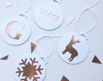 Christmas gift tags - white and rose gold, packet of 6