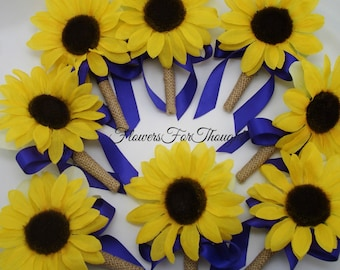 Sunflower and Burlap Boutonniere with Royal Blue Ribbon, Groomsmen Buttonhole Flower, Mens Wedding Decoration, 1 Lapel Pin Made to Order