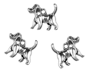 Set of 6 charms silver metal dog