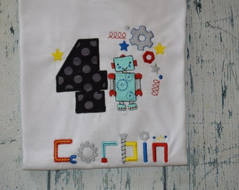 PERSONALIZED Robot Birthday Shirt  Custom Your choice 1-9