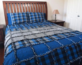 """Blue Ombre Rag Quilt, Handmade Cotton Flannel Quilt, Twin or Large Throw Size, 75"""" x 92"""""""