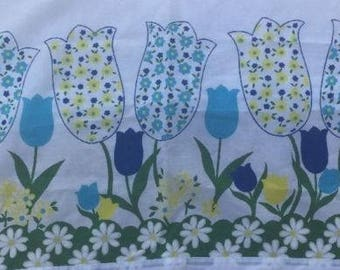 VINTAGE Floral 1970s CURTAINS -Blue Yellow Green Flowers -2 pc- Retro