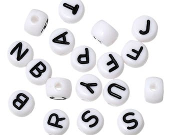Round, white alphabet beads 7 mm, different quantities and letters can be selected