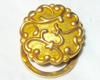 Vintage Goldtone Button Scarf Clip