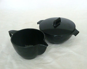 Vintage Black Melmac Sugar and Creamer Set
