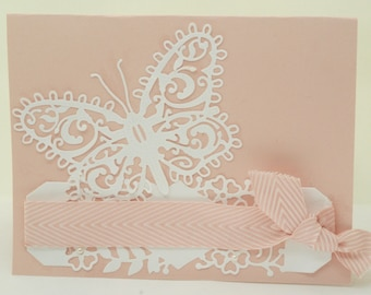 Butterfly Wedding Card,  Handmade Pink Lacy Bridal Shower Card, Pretty Pink Congratulations Card, Pink and White Wedding Card, Engagement