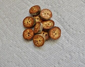 """Boutons en bois en bois boutons boutons branche de chêne au crochet boutons col boutons quantité de 10... 3/4"""" boutons lot #5"""