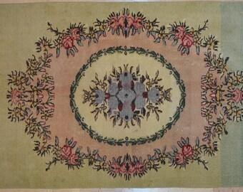 Carpet Pale Floral 4' x 6.5' Rug Overdyed Vintage Nostalgic