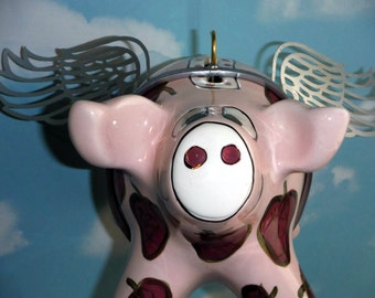 Flying Pig by Pati Ganz Collectible Ceramic, Word Banner Available