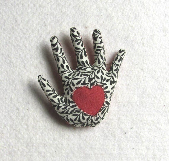 BW Leafy Fabric Hand Brooch Reverse Applique Heart Hamsa Ready to Ship