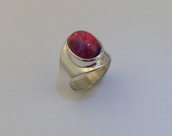 dragon's breath opal sterling silver ladies ring