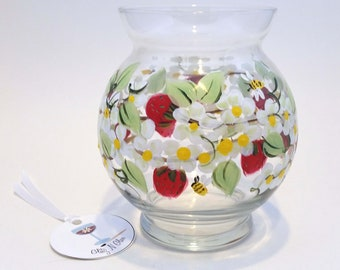 Hand Painted Ivy Bowl With Strawberries, Bees and Blooms