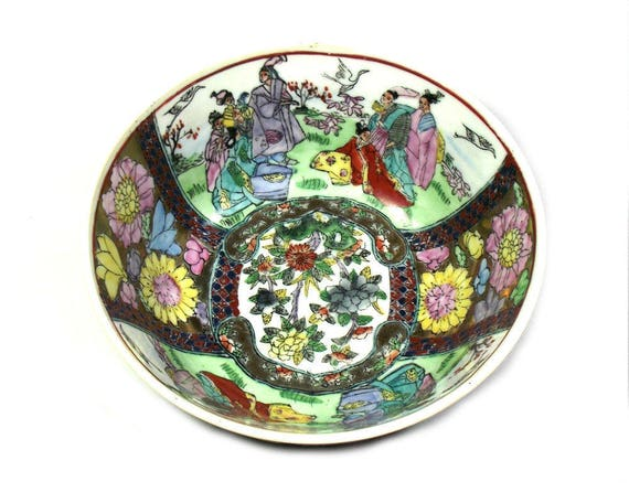 Antique Chinese Serving Bowl with Roses
