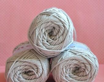 Kacenka - soft cotton/acrylic yarn for crochet and knitting, Light grey color, No. 8124, 1 ball/50 g, Producer NCT