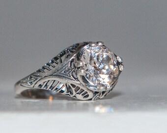 Art Nouveau Engagement Ring - Victorian Engagement Ring - Filigree Engagement Ring