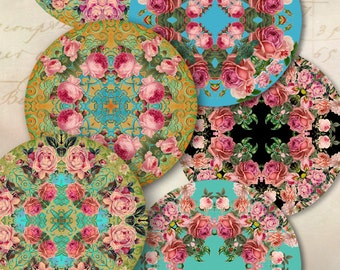 Printables Digital Collage Sheet KALEIDOSCOPE ROSES 2.5 inch size images for Pocket Mirrors, cupcake toppers, Magnets, Paper Weights ArtCult