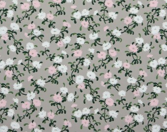 1940s Vintage Wallpaper by the Yard - Pink and White Flowers on Gray, Floral Wallpaper