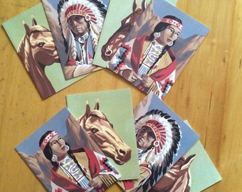 8 NATIVE AMERICAN card pack Vintage Indian chief note card Indian maiden art Horse cards Vintage western Paint by Numbers greeting cards