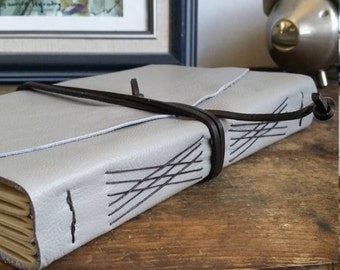 Large Leather Journal, Light Gray, Hand-Bound 6 x 9 Journal by The Orange Windmill on Etsy 1724