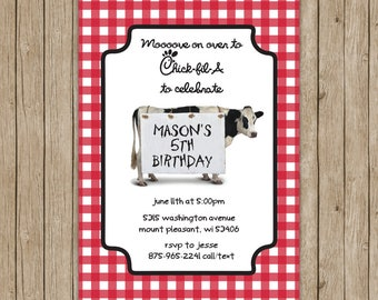 Chick-fil-A Inspired Birthday Invitations- Digital File OR Printed Invites- Chick-fil-A Party- Birthday Invites- Chick-fil-A Birthday Party