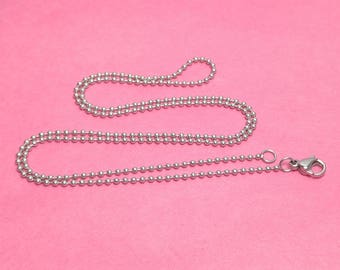 """20"""" 1.5mm Stainless Steel Ball Chain Necklaces WITH Lobster clasps - Package of 10 or 100 - Bulk Chains"""