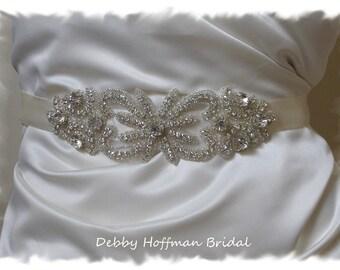Crystal Beaded Bridal Sash, Rhinestone Jeweled Wedding Sash, Crystal Bridal Belt, Rhinestone Belt, Vintage Style Wedding Belt, No. 2041S