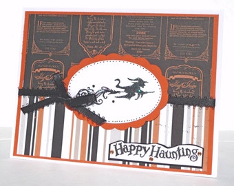 Happy Halloween Witch Greeting Card with Coordinating Embellished Envelope - Handmade Paper Card
