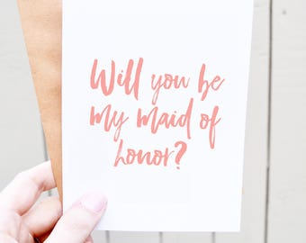 Will you be my maid of honor card - matron of honor card - maid of honor ask - maid of honor gift
