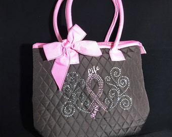 Breast cancer Rhinestones Tote bag