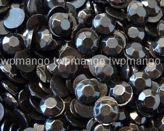 1000 3mm Acrylic Round Crystal Rhinestones Flat Back SS12 Black N66-6