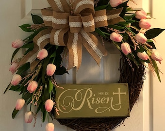 Pink Tulip Easter Wreath