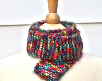 Hand knit scarf, rainbow knit scarf, knit skinny scarf, long knit scarf, long skinny scarf, rainbow scarf, soft wool scarf, knit wool scarf
