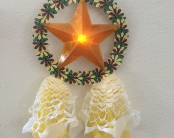 One Handcrafted Miniature Filipino Paper Parol with LED Light- Christmas Star Ornament - Yellow only Ready to ship
