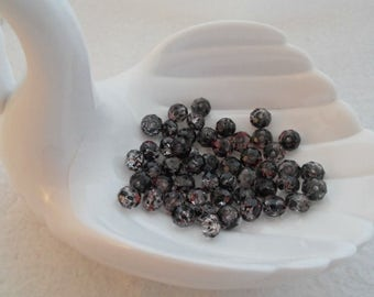 Pack of 6 mm x 8 mm Rondelle Beads, Black & Fuchsia Spotted (1549)