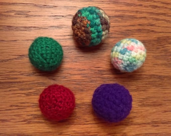 Three Small Cat Balls, Kitten Toy, Cat Toy, Catnip Toy, Cat Toy Set. Crocheted Ball, Stuffed Ball, Pet Toy, Crocheted, Handmade Cat Toys