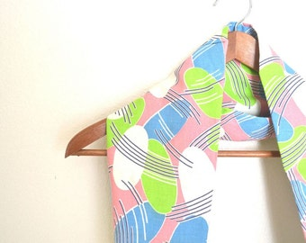 Neon Infinity Scarf 80s Vintage Fabric Scarf Circle Cowl Scarf Eco Friendly Small S