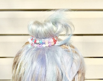 Bun bracelets set of two bun wraps hair jewelry pastel rainbow set