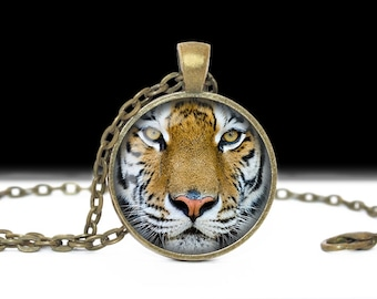 Tiger Necklace Tiger Jewelry Necklace Wearable Art Pendant Charm Tiger Pendant  Cat Charm Pink