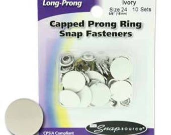 Snap Size 24 Fasteners, Capped Prong Ivory Color - 10 Sets