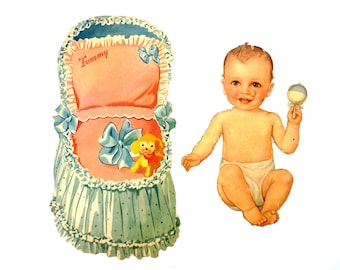 "Vintage Paper Baby Doll ""Tommy"" with Clothing, 14 pieces (c.1940s) - Doll Ephemera, Collectible Doll, Paper Projects"