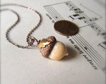 Mini Glass Acorn Necklace - Autumn Ivory with Leaf by Bullseyebeads