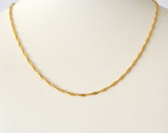 Singapore Twist Chain 1.5 mm 24k Gold Plated Durable Minimalist Womens Chains Size 15 - 23 Inches - CLEARANCE ITEM!