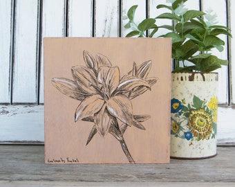 Botanische Kunst, Holz Wand Kunst, Lily Print, Flower Print, Rustikale