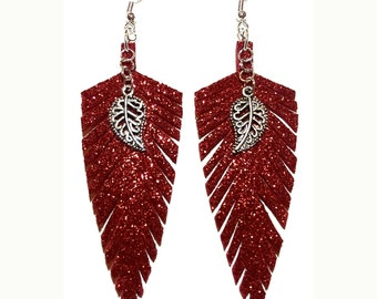 Red Glitter Feather Earrings