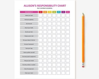 Printable Kid's Chore Chart - EDITABLE; Child Responsibility Chart, Behavior Chart, Reward Chart, Job Chart, Tasks Chart for Children, DIY