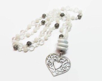 White Handknotted Heart Necklace, Boho Hand Knotted Beaded Necklace, Long White Heart Pendant Necklace, Bohemian Style Pendant Necklace