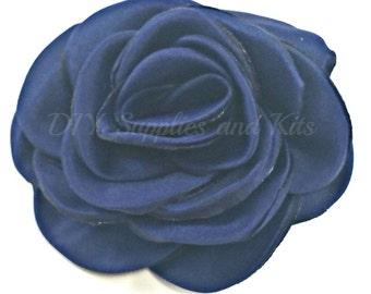 "Navy - 3"" Rose petal flower - Navy flower"