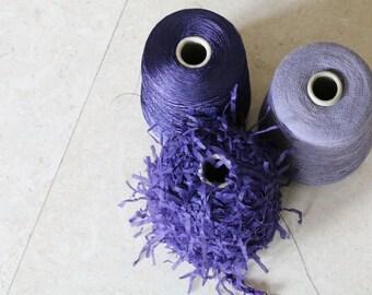 Set of three luxury Italian fancy yarns.Yarns on cone,knitting yarns,weaving yarns,fibre,textile wool,fancy yarns,purple yarns,crochet yarns