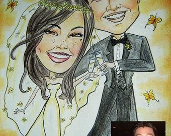 Wedding couple Custom hand drawn caricature