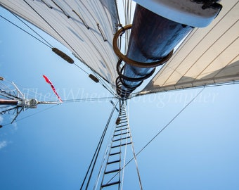 Color Photo Looking Up The Mast On a Sailboat, boats, sails, water, sea, boating, sailing, blue sky, nautical. holiday